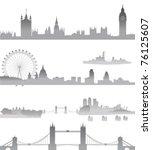 very detailed london skyline... | Shutterstock .eps vector #76125607
