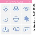 the internals outline icon set. ... | Shutterstock .eps vector #761257378