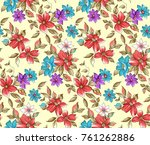 flower pattern with background   Shutterstock . vector #761262886