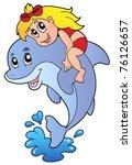 girl sitting on dolphin  ...   Shutterstock .eps vector #76126657