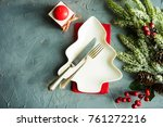 rustic table setting for... | Shutterstock . vector #761272216