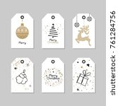 vintage christmas gift tags | Shutterstock .eps vector #761284756