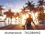woman enjoying vacation... | Shutterstock . vector #761286442