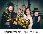 group of happy friends drinking ... | Shutterstock . vector #761290252