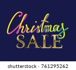 christmas sale golden and fluid ... | Shutterstock .eps vector #761295262