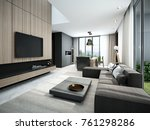 modern living room and kitchen... | Shutterstock . vector #761298286