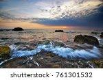 beautiful seascape sunset.... | Shutterstock . vector #761301532