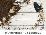 gardening tools top view on... | Shutterstock . vector #761308822