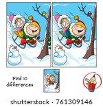 little girl and boy riding a... | Shutterstock .eps vector #761309146