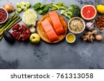 healthy food clean eating... | Shutterstock . vector #761313058