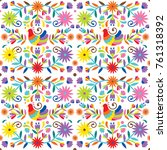 ethnic flower pattern inspired... | Shutterstock .eps vector #761318392