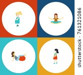 flat icon pregnant set of... | Shutterstock .eps vector #761321086