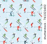 skiers on a blue background in... | Shutterstock .eps vector #761321602