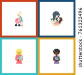 flat icon mother set of kid ... | Shutterstock .eps vector #761322496