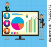 managers on a large monitor... | Shutterstock .eps vector #761332342