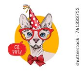 bandit sphynx cat in a red... | Shutterstock .eps vector #761333752