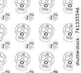 sugar skull and maracas mexico... | Shutterstock .eps vector #761335546