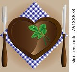 plate heart  a knife and fork   Shutterstock .eps vector #76133878