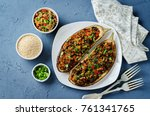 minced meat quinoa vegetables... | Shutterstock . vector #761341765