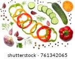 mix of sliced cucumber  garlic  ... | Shutterstock . vector #761342065
