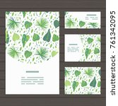 set of cards on tropical jungle ... | Shutterstock .eps vector #761342095
