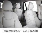 Stock photo luxury car inside interior of prestige modern car comfortable leather seats white cream leather 761346688