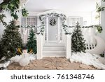 house entrance decorated for... | Shutterstock . vector #761348746