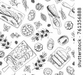 gourmet snacks seamless pattern.... | Shutterstock .eps vector #761356888
