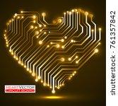 abstract neon circuit board in... | Shutterstock .eps vector #761357842