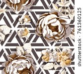 seamless floral pattern. big... | Shutterstock .eps vector #761360125