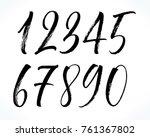 brush lettering numbers. modern ... | Shutterstock .eps vector #761367802