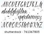 brush lettering vector alphabet.... | Shutterstock .eps vector #761367805
