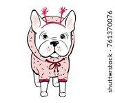 cute vector dog in winter... | Shutterstock .eps vector #761370076