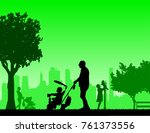 grandfather walking with his... | Shutterstock .eps vector #761373556