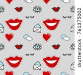 vector seamless pattern with... | Shutterstock .eps vector #761375002
