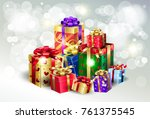 boxing day sale poster. gift...   Shutterstock .eps vector #761375545