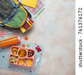 open lunch box with healthy kid'... | Shutterstock . vector #761376172