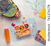 open lunch box with healthy kid'... | Shutterstock . vector #761376178
