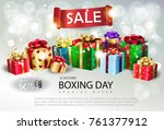 boxing day sale poster. gift... | Shutterstock .eps vector #761377912