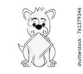 dog with roadsign cartoon | Shutterstock .eps vector #761379346