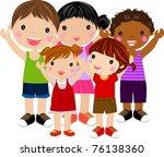 five kids | Shutterstock .eps vector #76138360