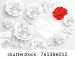 paper flower. white roses cut... | Shutterstock .eps vector #761386012