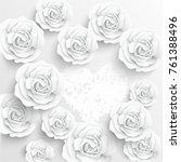 paper flower. white roses cut... | Shutterstock .eps vector #761388496