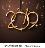 2019 happy new year background... | Shutterstock . vector #761391112