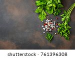 parsley  salt and pepper. herbs ... | Shutterstock . vector #761396308