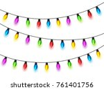 christmas glowing lights on... | Shutterstock .eps vector #761401756
