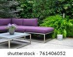 garden design. purple street... | Shutterstock . vector #761406052