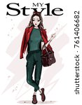 hand drawn fashion woman with... | Shutterstock .eps vector #761406682