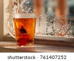 a mug of tea on a background of ... | Shutterstock . vector #761407252