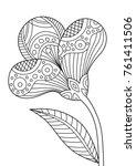 outlined zentangle anti stress... | Shutterstock .eps vector #761411506